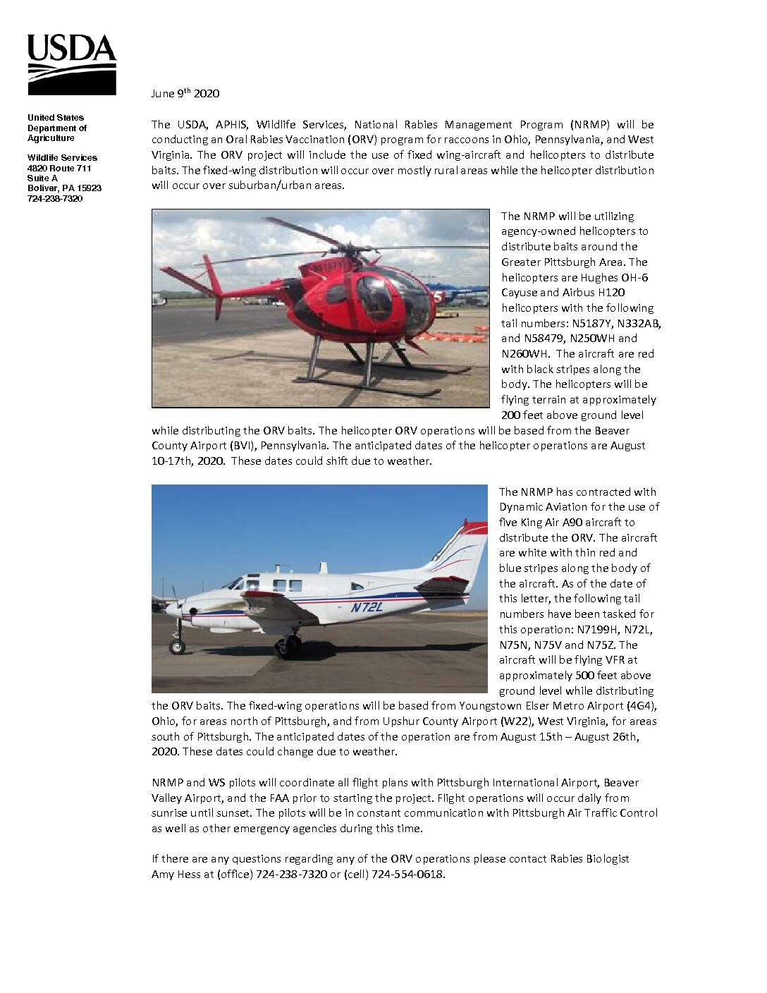 2020 USDA Helicopter Fixed Wing Oral Rabies Vaccine Notification