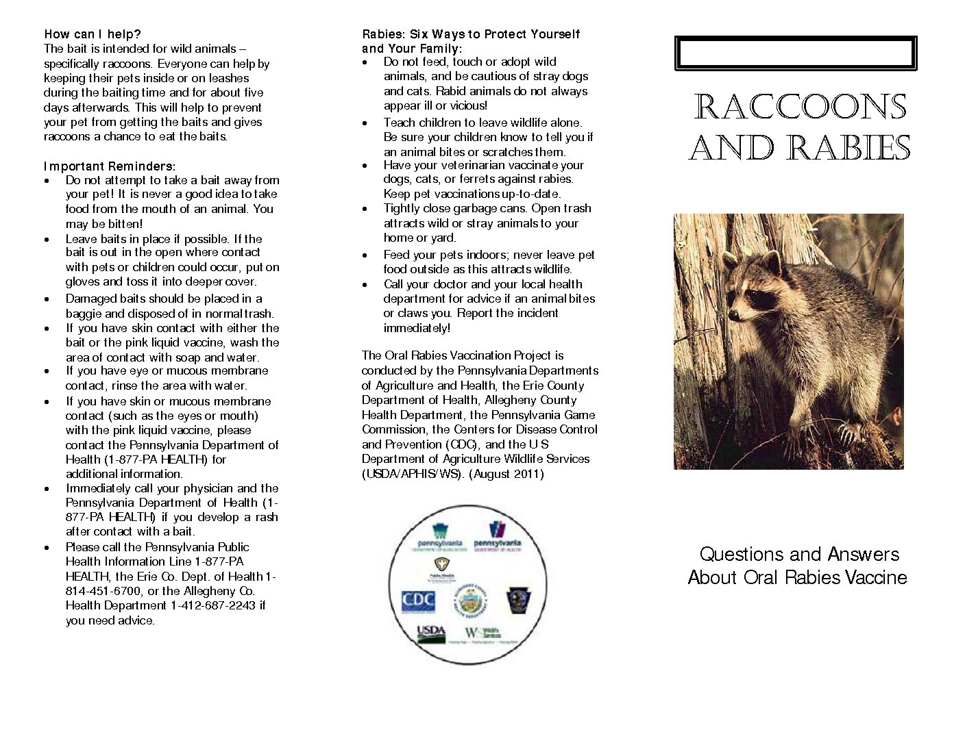Raccoons and Rabies Pamphlet