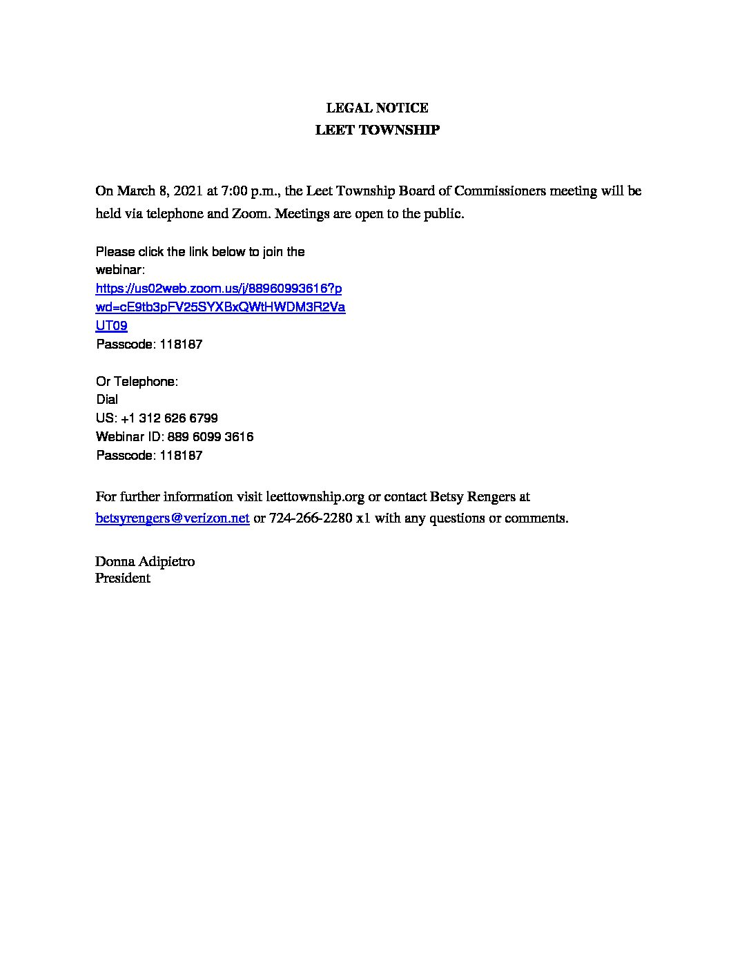 OFFICIAL NOTICE remote meetings BOC March 8, 2021
