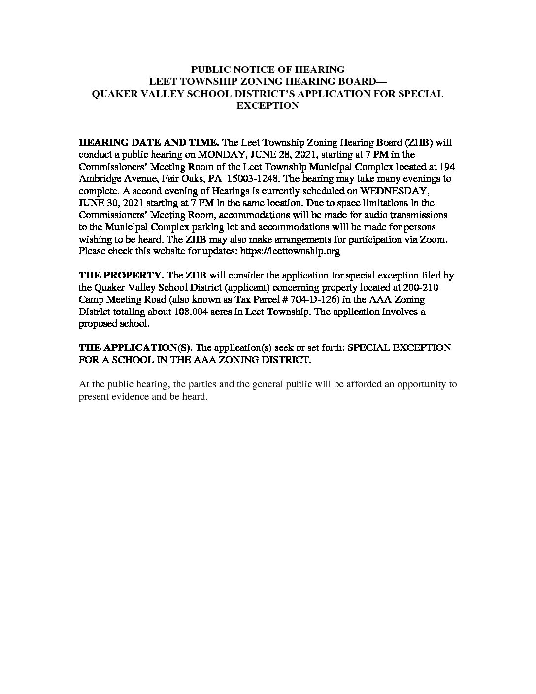 OFFICIAL NOTICE QVSD ZONING HEARING NOTICE