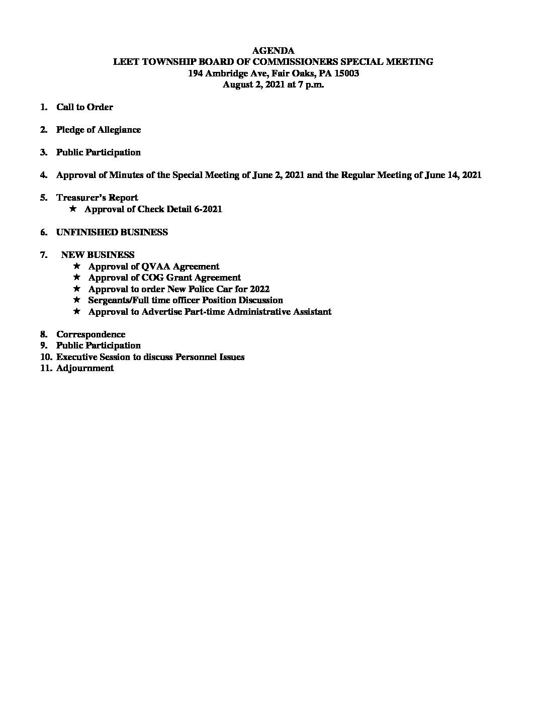 AGENDA Aug. 2, 2021 Special Meeting Board of Commissioners