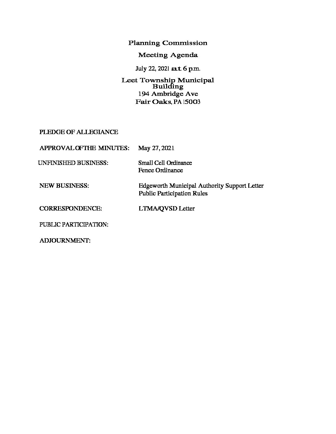 Planning Commission Meeting Agenda July 22, 2021