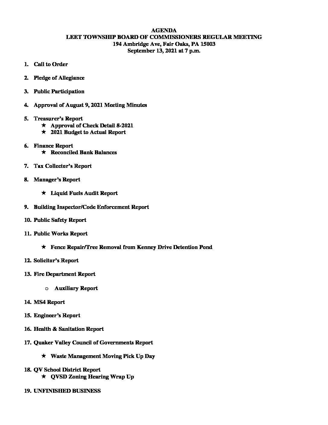 AGENDA September 13, 2021 Board of Commissioners Meeting